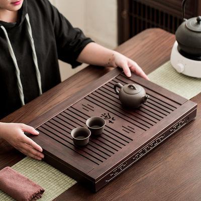 茶盘实木套装家用功夫茶具茶托茶台托盘简约排水大小号茶座盘