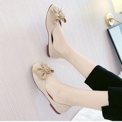 夏季新款网红单鞋女浅口方头蝴蝶结瓢鞋工作韩国奶奶鞋学生懒人鞋