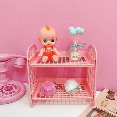 粉色少女可爱桌面收纳架学生居家饰品化妆品双层置物架