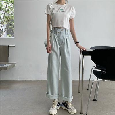 浅蓝色牛仔裤女夏季2020年新款韩版ins复古高腰薄款阔腿裤长裤潮