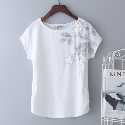 热卖大码白色短袖女t恤2020夏季新款纯棉宽松中年妈妈装上衣半袖