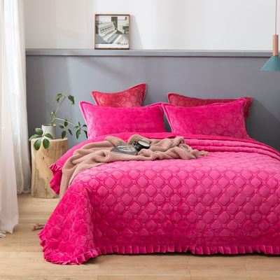 冬季水晶绒花边床单双面床盖夹棉毛毯单双人被子床毯子法兰绒床垫