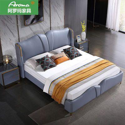 意式轻奢床现代简约真皮床双人床1.8米设计ins风北欧新款主卧婚床