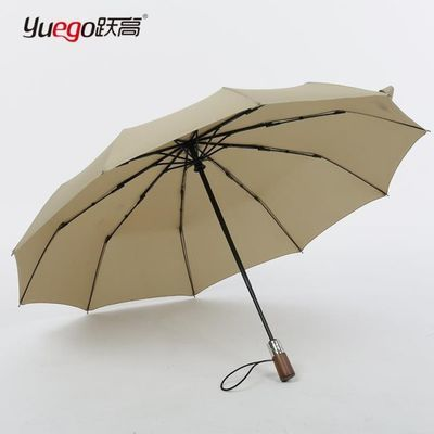 全自动木柄雨伞晴雨两用复古风国潮抗风日系三折叠素色轻奢伞收纳