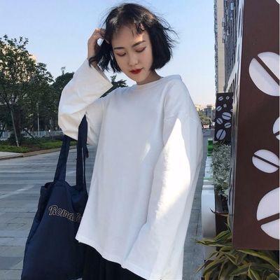 热卖纯棉白色长袖t恤女印花圆领韩版纯色百搭打底衫女秋季内搭上