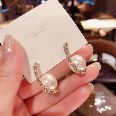 韩国东大门设计师款高级感椭圆珍珠耳环2020新款潮气质百搭耳钉女