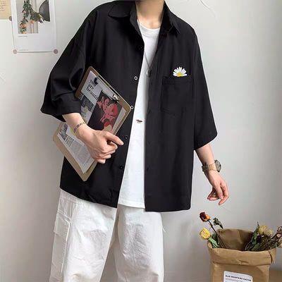 夏季短袖衬衫男韩版潮流宽松衬衣学生百搭中袖ins原宿风上衣夏装