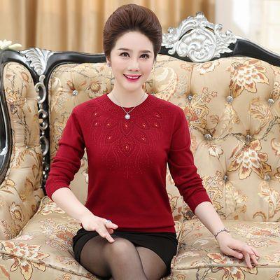 打底衫毛衣女中老年毛线衣40―50岁妈妈宽松针织衫圆领宽松毛衣女