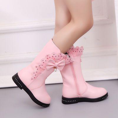 女童雪地靴2019秋冬新款时尚女孩高筒靴儿童加绒马丁靴中大童靴子