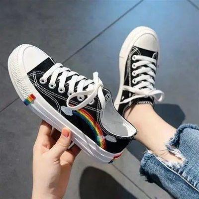 儿童帆布鞋潮彩虹鞋子男女小学生韩版百搭小白鞋ins布鞋2020春季