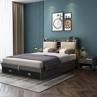 北欧现代简约床高箱储物主卧家具套装婚床软靠单人床双人床小户型