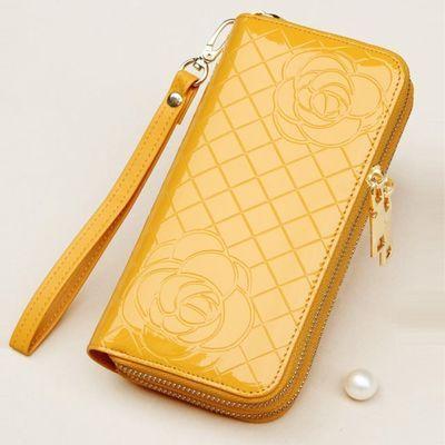 钱包女长款黄色手包真皮双拉链女士手抓包大容量2019新款卡包一体