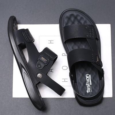 花花公子凉鞋男士2020夏季皮凉鞋男真皮凉拖鞋外穿潮流沙滩鞋新款
