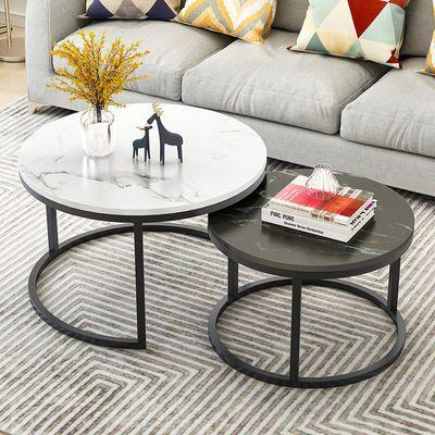 北欧茶几简约现代家用客厅沙发边几小桌子组合阳台茶桌铁艺小圆桌