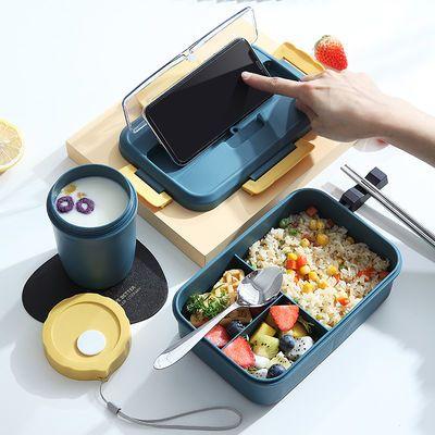 便携饭盒带盖学生女男上班族单人微波炉可加热便当盒分隔韩版可爱