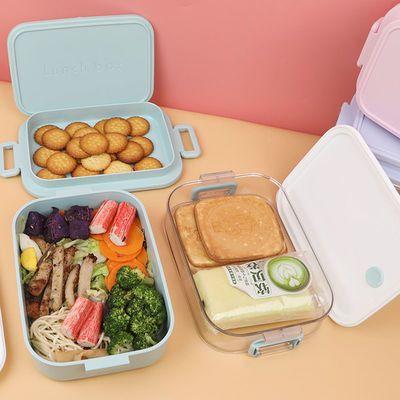 304不锈钢饭盒双层塑料便当盒带盖上班族单人学生单层午餐打包盒