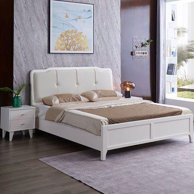 实木双人大床1.8米软包现代简约轻奢家具1.5米北欧高箱床主卧婚床