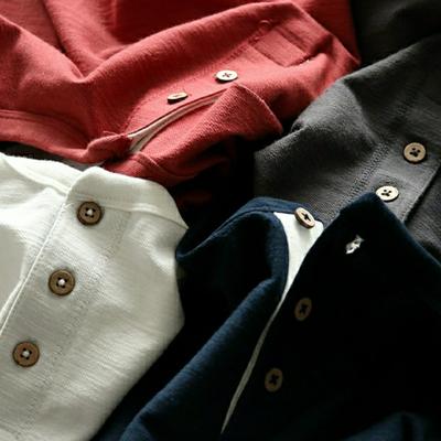 竹节棉纱 外贸男装工厂剪标尾货秋冬男士亨利领纯色打底长袖T恤衫