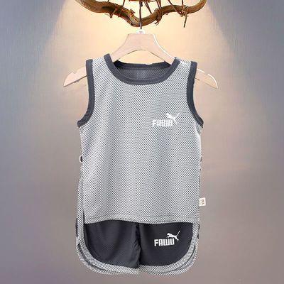 儿童篮球服夏季男女童短裤套装网眼速干透气无袖运动背心两件套爆