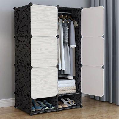 简易衣柜塑料收纳架布推拉门钢管加粗加固单人组装儿童双人实木柜
