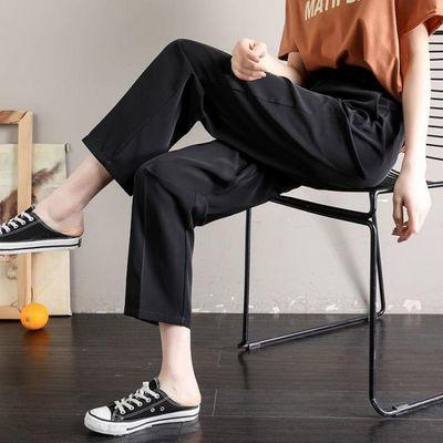 九分西装裤女夏季薄款黑色直筒阔腿裤宽松高腰显瘦垂感学生小个子