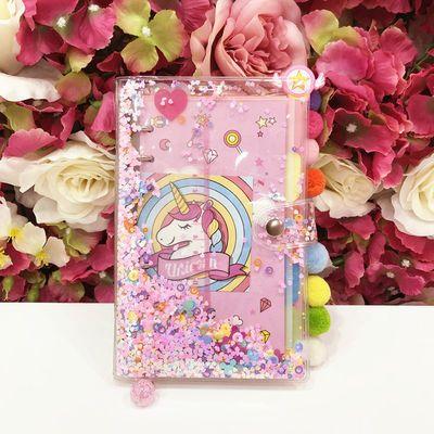 粉色少女心双层流沙透明手账本创意可爱活页手帐旅行笔记方格本子