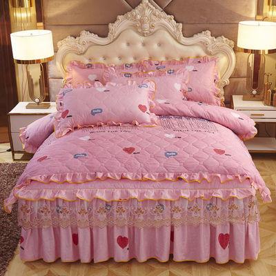 夹棉床裙四件套韩版磨毛加棉单双人加厚保暖床罩被套结婚床上用品