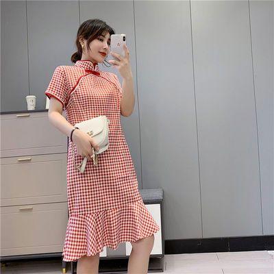 056夏季新款文艺复古民国风改良S少女旗袍鱼尾格子连衣裙