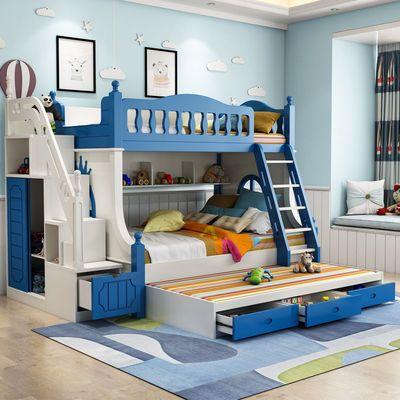 儿童床男孩上下床蓝色双层床省空间高低床实木子母床组合床多功能