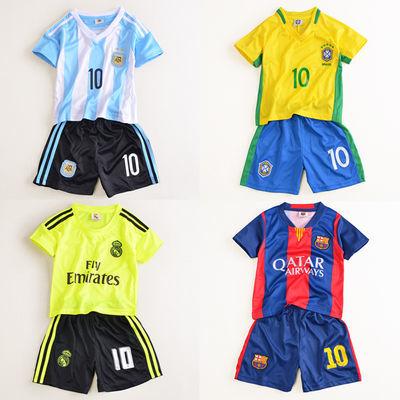 世界杯儿童足球服 中大童童装夏季女童宝宝球衣男童运动服套装潮