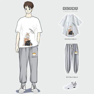 2020新款夏季短袖T恤男运动休闲套装青少年学生宽松潮流一套衣服
