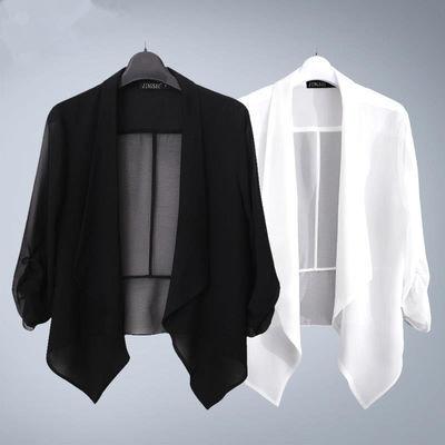 2020夏季新款大码雪纺空调开衫百搭薄款短款小外套女士披肩防晒衣