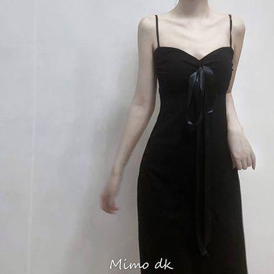 含胸垫 2020夏新款 复古走秀黑天鹅长款吊带裙性感线条黑色长裙