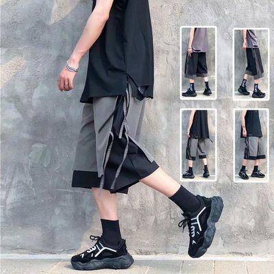 夏季假两件高街裤子男宽松潮牌工装短裤个性不规则休闲拼接七分裤