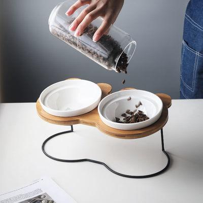 米奇高脚铁艺竹木架保护颈椎猫咪单碗泰迪柯基碗陶瓷双碗宠物用品