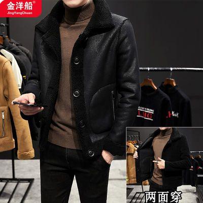 秋冬季短款羊羔绒夹克男修身加绒加厚皮毛一体上衣潮牌保暖外套潮