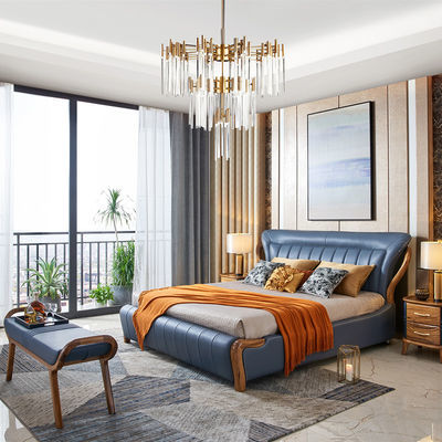 新中式乌金木全实木床双人实木真皮头层牛皮软靠简约婚床主卧1米8