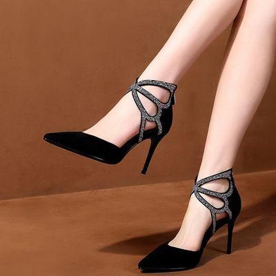 【清仓价】羊皮春夏季凉鞋中空尖头真皮高跟鞋高帮女鞋时尚单鞋女
