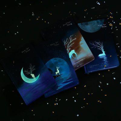 星空夜光手账本简约ins风彩页手绘韩国手帐抖音网红少女笔记本子