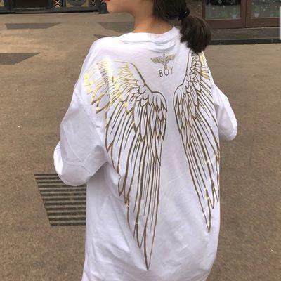 BOY老鹰烫金翅膀纯棉T恤快手网红同款学生女潮牌短袖宽松休闲上衣