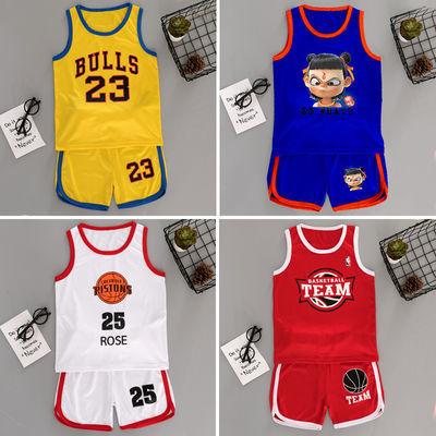童装夏季男童背心无袖短裤套装儿童篮球服女童速干运动服两件套