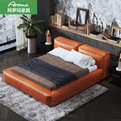 意式极简真皮床头层皮工业风床设计师轻奢现代1.8米主卧室双人床