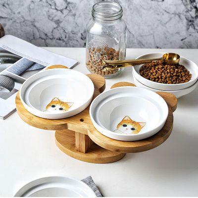 猫咪饭碗双碗幼崽猫碗可爱泰迪柯基狗水碗竹木架陶瓷猫碗宠物用品