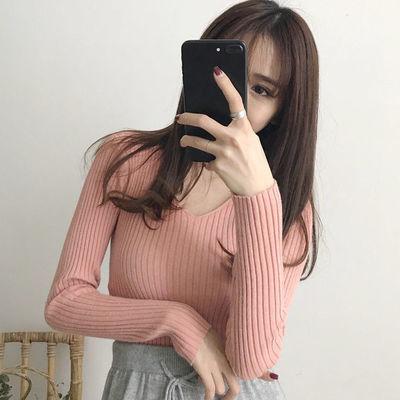 2020秋装韩版修身显瘦V领紧身上衣外穿复古套头短款长袖针织衫女
