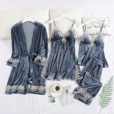 睡衣女秋冬季金丝绒睡裙性感睡袍吊带宽松长袖家居服四件套带胸垫