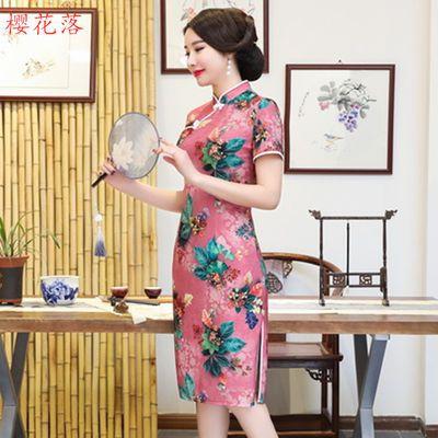 旗袍女夏季新款中长款短袖妈妈装汉服大码显瘦旗袍改良年轻连衣裙