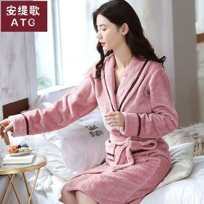 秋冬新款珊瑚绒睡袍女加厚保暖睡衣长款法兰绒浴袍浴衣家居服