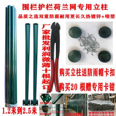 热镀锌喷塑立柱养殖网绿色铁丝网48圆管篱笆栅栏铁柱子燕尾柱包邮