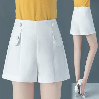 白色工装短裤女夏季薄款2020年新款高腰显瘦宽松夏天外穿a字裤子
