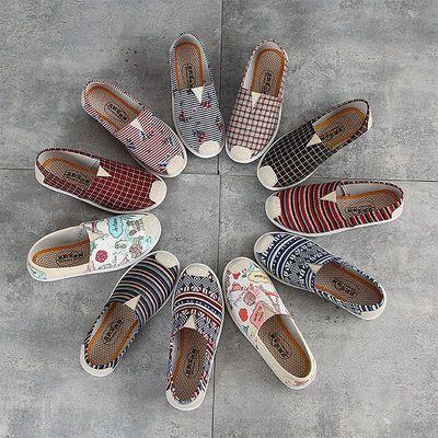 老北京布鞋女秋季新款一脚蹬懒人平底软底单鞋透气帆布鞋妈妈女士